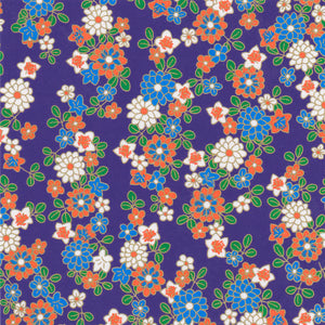 Yuzen Washi Wrapping Paper HZ-117 -  Chrysanthemum & Bellflowers Purple
