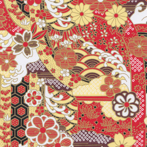 Yuzen Washi Wrapping Paper HZ-119 - Gorgeous Red