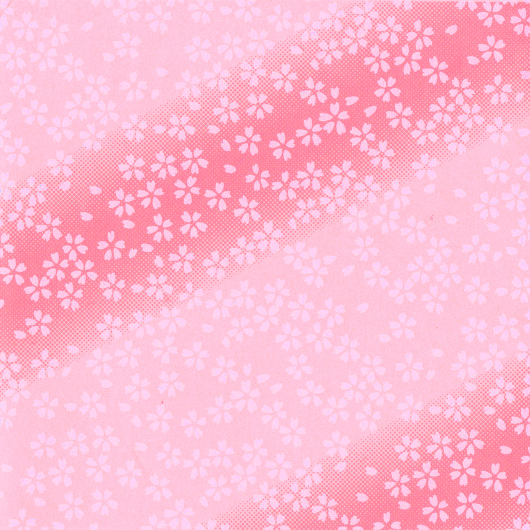 Yuzen Washi Wrapping Paper HZ-121 - Small Cherry Blossom Pink Gradation