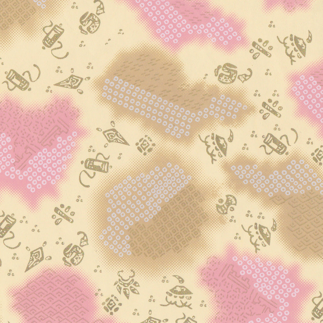 Yuzen Washi Wrapping Paper HZ-159 - Deer's Spots & Old Toys