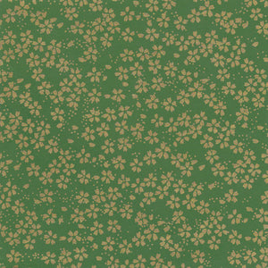 Yuzen Washi Wrapping Paper HZ-166 - Small Gold Cherry Blossom Matcha