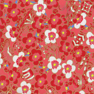 Yuzen Washi Wrapping Paper - Cloudy Plum Flower Red