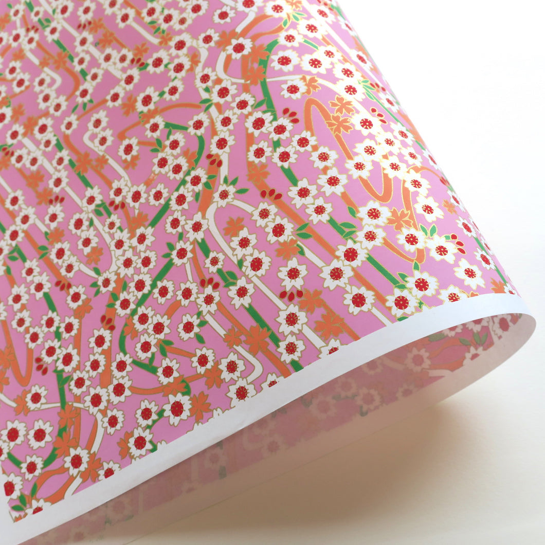 Yuzen Washi Wrapping Paper HZ-172 - Double Cherry Blossom Pink - washi paper - Lavender Home London
