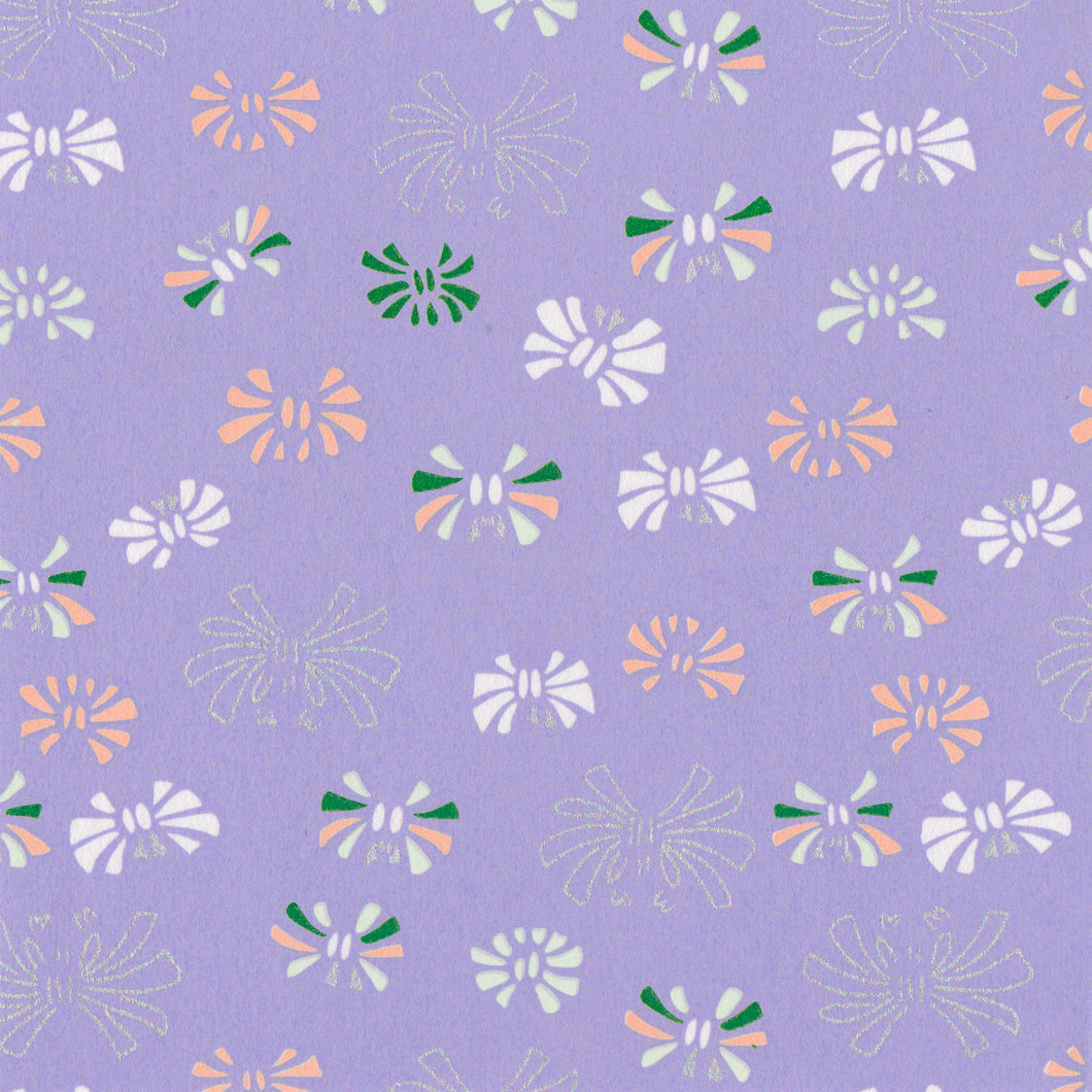 Yuzen Washi Wrapping Paper HZ-173 - Ribbons Lavender