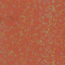 Yuzen Washi Wrapping Paper HZ-184 - Small Silver Cherry Blossom Fire Orange