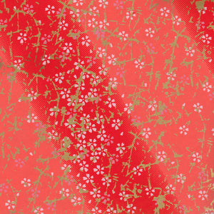 Yuzen Washi Wrapping Paper HZ-185 - Small Cherry Blossom Red Gradation