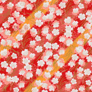 Yuzen Washi Wrapping Paper HZ-186 - Cherry Blossom Red & Orange Stripes - washi paper - Lavender Home London