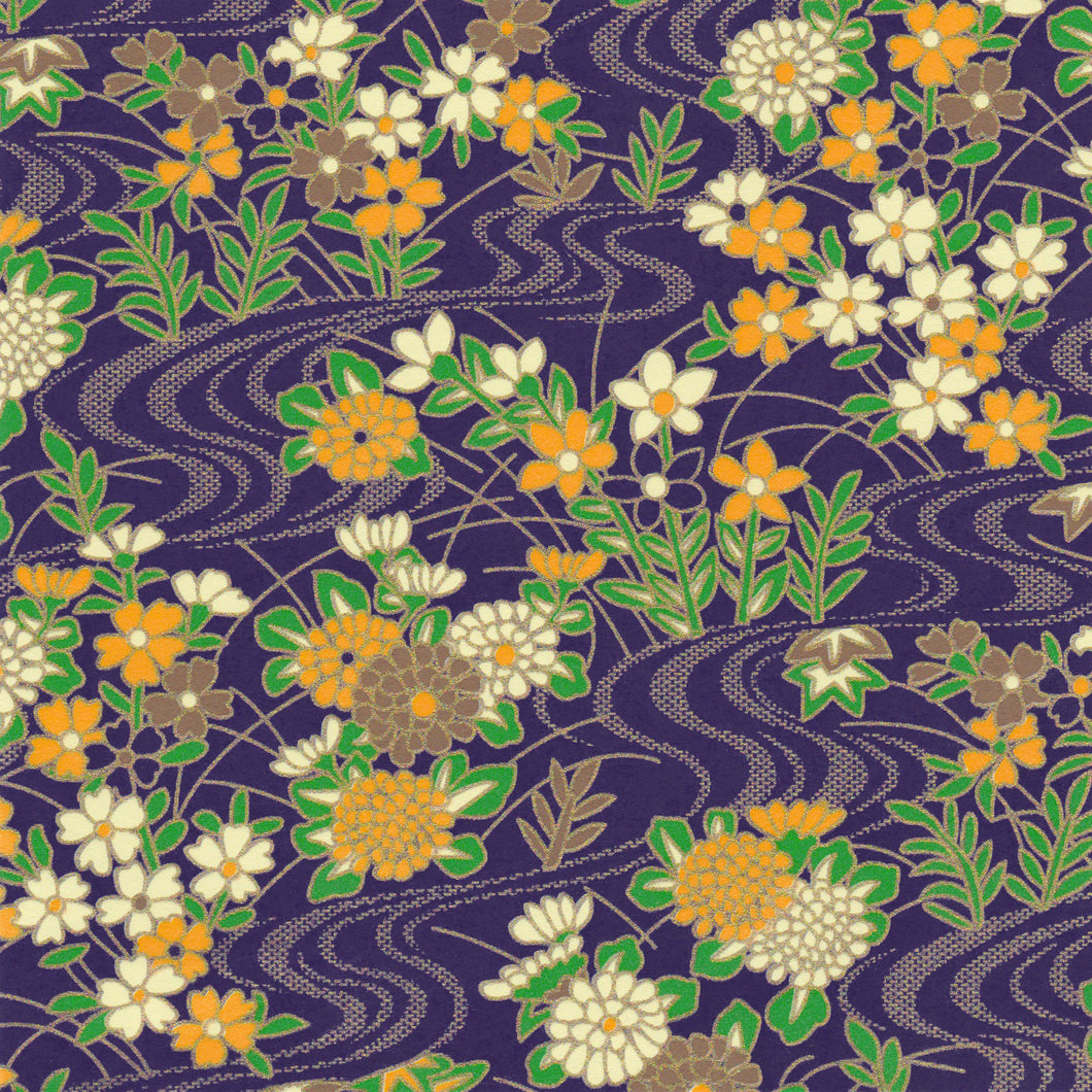 Yuzen Washi Wrapping Paper HZ-200 - Purple Flowing Water Flower Garden