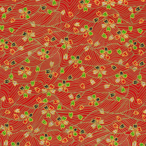 Yuzen Washi Wrapping Paper - Outlined Cherry Blossom & Red Sea Waves