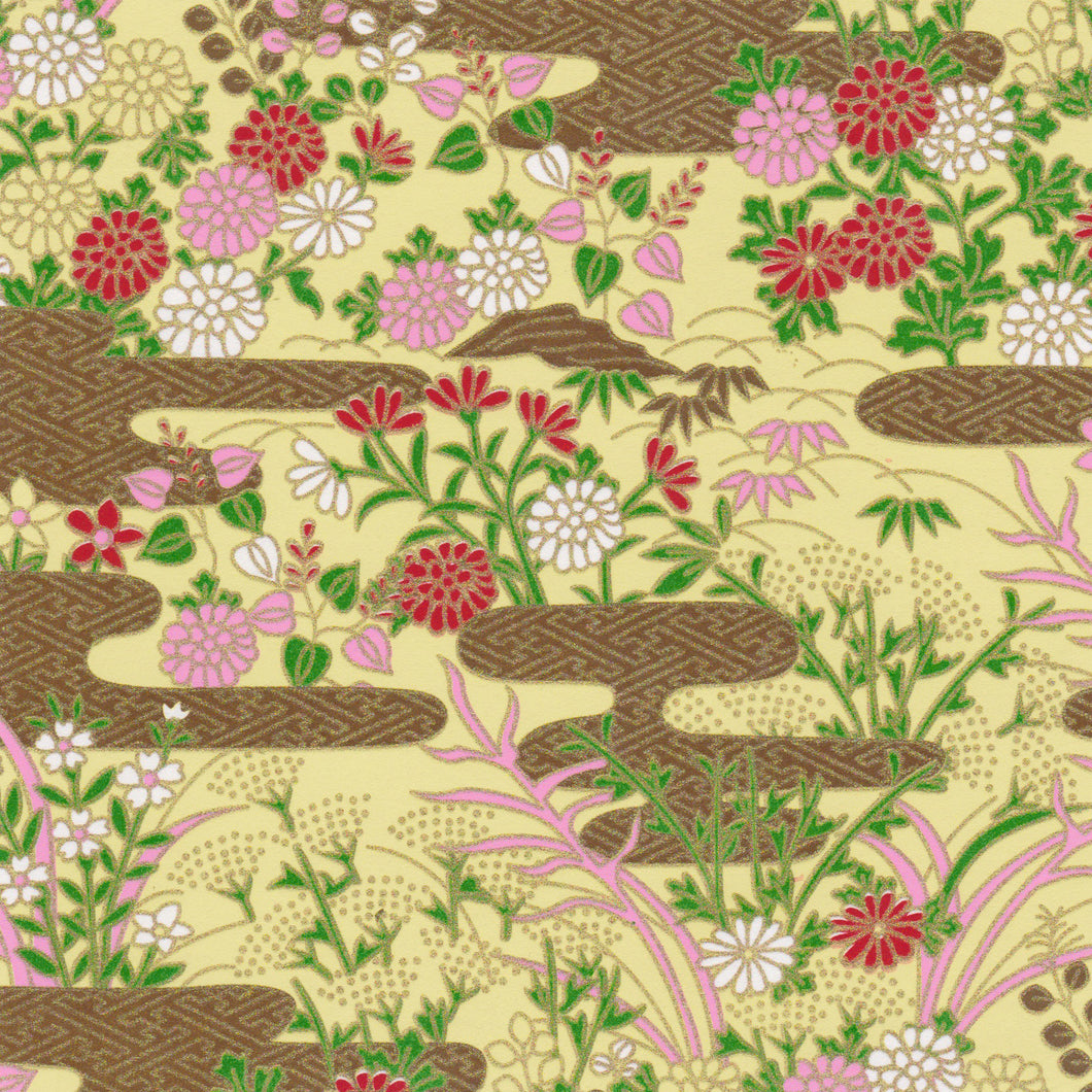 Yuzen Washi Wrapping Paper HZ-206 - Chrysanthemums Garden