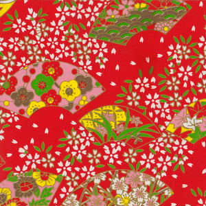 Yuzen Washi Wrapping Paper - Cherry Blossom & Floral Fans Red