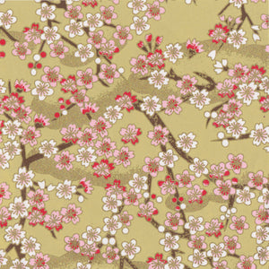 Yuzen Washi Wrapping Paper HZ-208 - Cherry Blossom Branches Yellow