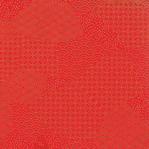 Yuzen Washi Wrapping Paper - Red Gold Mixed Geometric Patterns