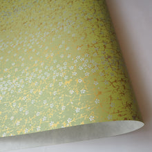 Yuzen Washi Wrapping Paper HZ-217 - Small Silver Cherry Blossom Matcha - washi paper - Lavender Home London