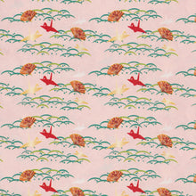 Yuzen Washi Wrapping Paper - Cranes on Dew & Grass Pink
