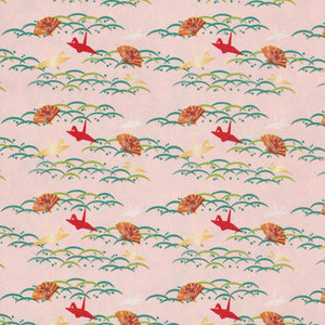 Yuzen Washi Wrapping Paper HZ-219 - Cranes on Dew & Grass Pink - washi paper - Lavender Home London