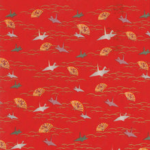 Yuzen Washi Wrapping Paper - Cranes on Dew & Grass Red