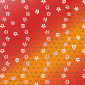 Yuzen Washi Wrapping Paper - Small Plum Flowers Red Gradation