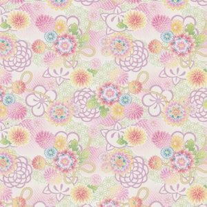 Yuzen Washi Wrapping Paper HZ-227 - Pastel Chrysanthemums Bouquet - washi paper - Lavender Home London