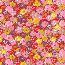 Yuzen Washi Wrapping Paper - Flowery Chrysanthemums Yellow