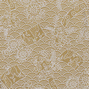 Yuzen Washi Wrapping Paper HZ-235 - Flags & Sea Waves Gold