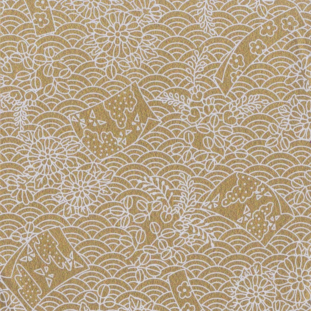 Yuzen Washi Wrapping Paper HZ-235 - Flags & Sea Waves Gold - washi paper - Lavender Home London