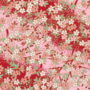 Pack of 20 Sheets 14x14cm Yuzen Washi Origami Paper HZ-236 - Cherry Blossom Red Pink Gradation - washi paper - Lavender Home London