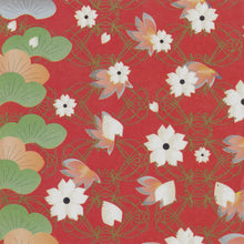 Yuzen Washi Wrapping Paper HZ-241 - Cherry Blossom & Pine Tree Red