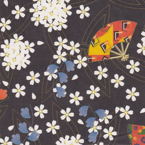 Yuzen Washi Wrapping Paper HZ-243 - Cherry Blossom & Fans Black