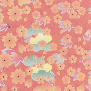 Pack of 20 Sheets 14x14cm Yuzen Washi Origami Paper HZ-246 - Cherry Blossom & Pine Tree Orange - washi paper - Lavender Home London