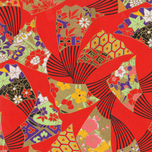 Yuzen Washi Wrapping Paper - Fans Red