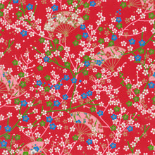 Yuzen Washi Wrapping Paper HZ-263 - Small Plum Flowers & Fans Red