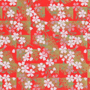 Yuzen Washi Wrapping Paper - Cherry Blossom Red Shade