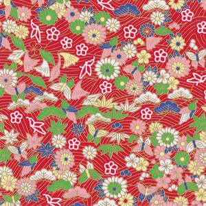 Yuzen Washi Wrapping Paper HZ-268 - Red Parade