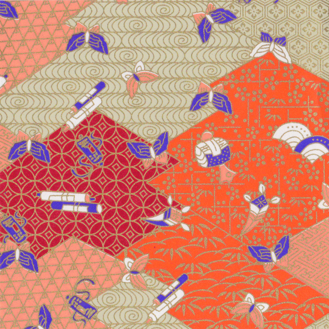 Yuzen Washi Wrapping Paper HZ-269 - Butterflies & Mixed Geometric
