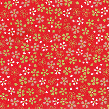 Yuzen Washi Wrapping Paper - Small Gold Cherry Blossom Red