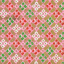 Yuzen Washi Wrapping Paper - Pink Gold Flower Square