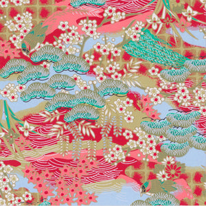 Yuzen Washi Wrapping Paper - Early Spring Scenery