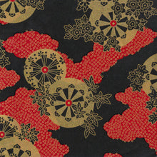 Yuzen Washi Wrapping Paper HZ-276 - Gold Water Wheels Red Black