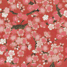 Yuzen Washi Wrapping Paper HZ-280 - Cherry Blossom & Plum Flowers Shining Red