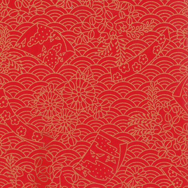 Yuzen Washi Wrapping Paper - Flags & Sea Waves Red