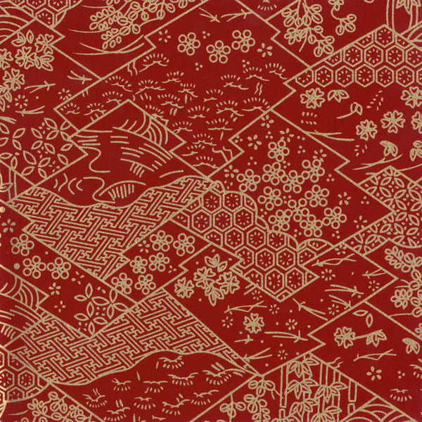 Yuzen Washi Wrapping Paper - Three Lozenges Dark Red