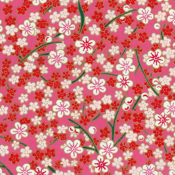 Yuzen Washi Wrapping Paper HZ-322 - Plum Flowers Pink - washi paper - Lavender Home London