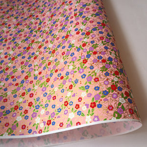 Yuzen Washi Wrapping Paper HZ-324 - Morning Glories & Bellflowers Pink - washi paper - Lavender Home London