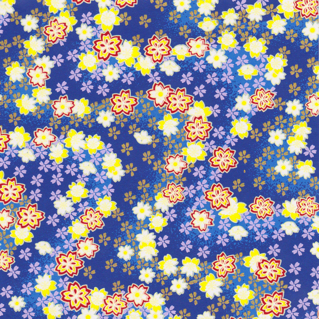 Yuzen Washi Wrapping Paper HZ-329 - Cherry Blossom Blue