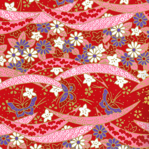 Yuzen Washi Wrapping Paper - Bellflowers & Butterflies Red