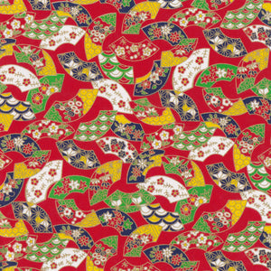 Yuzen Washi Wrapping Paper HZ-333 - Floral Fans Red