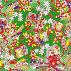Yuzen Washi Wrapping Paper - Jewelled Box & Flower Green