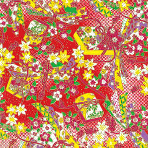 Yuzen Washi Wrapping Paper - Jewelled Box & Flower Red