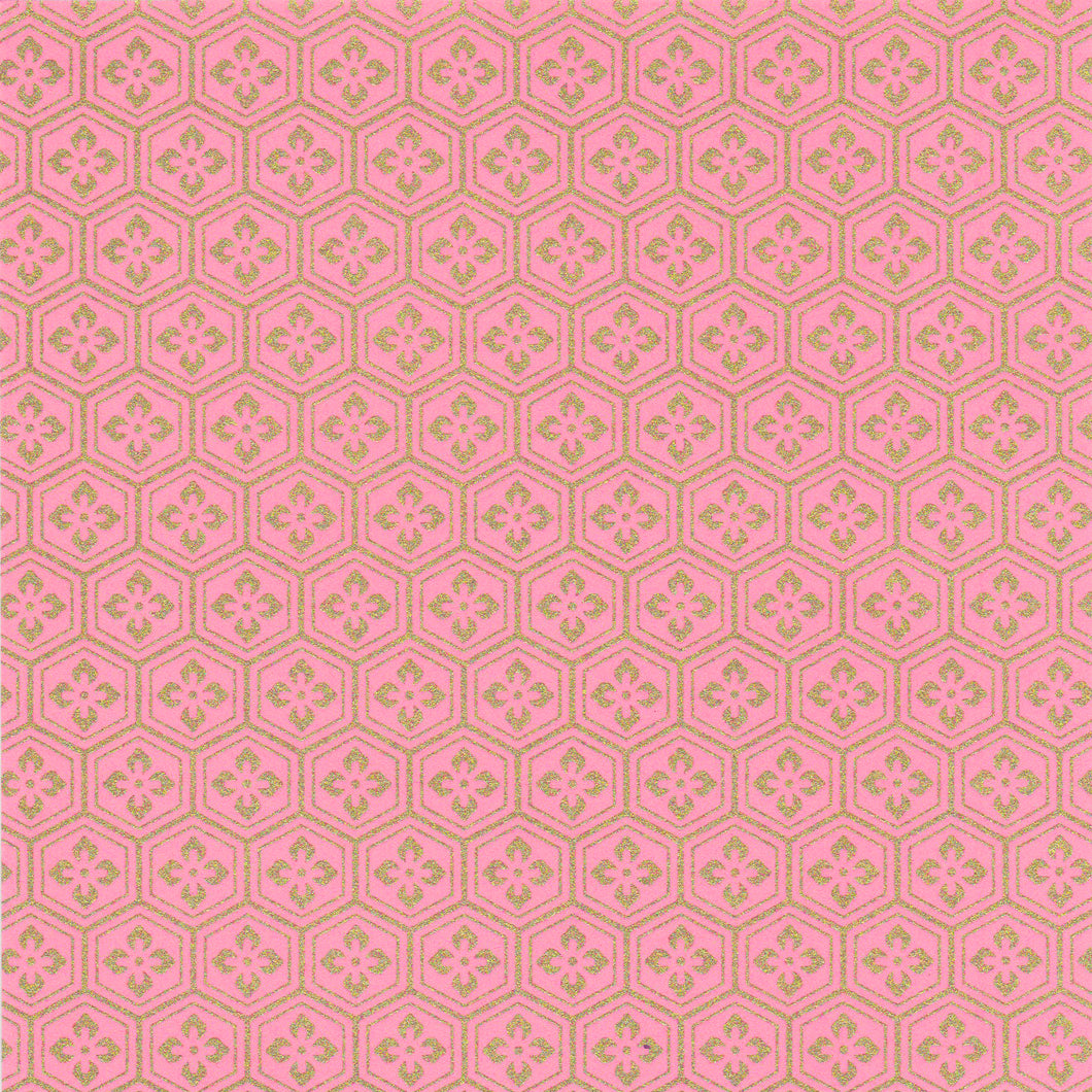 Yuzen Washi Wrapping Paper HZ-343 - Pink Gold Tortoiseshell Diamond Flower